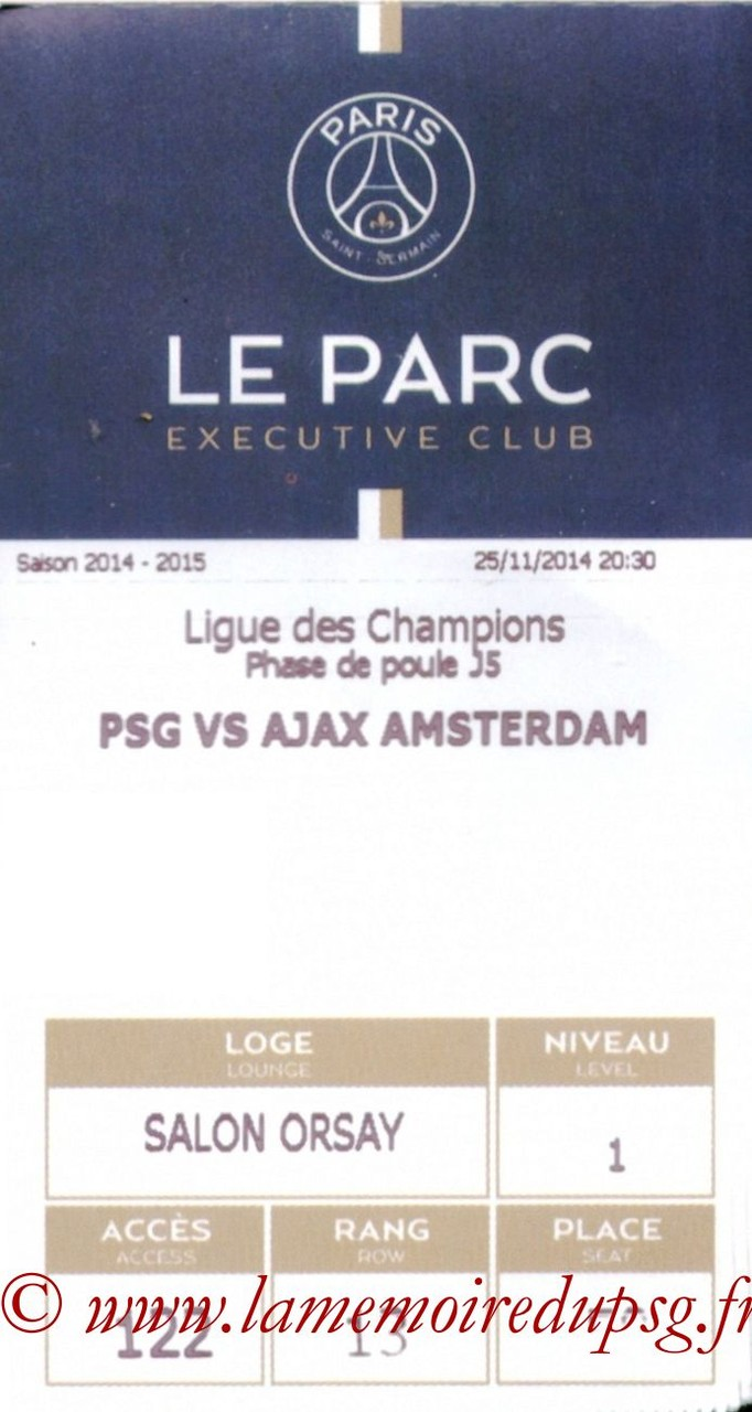 2014-11-25  PSG-Ajax (5ème Poule C1, E-ticket Executive club)