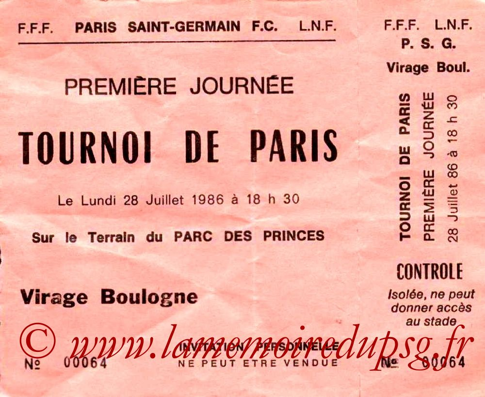 1986-07-28  PSG-Steaua Bucarest (Demi finale tournoi de Paris, Invitation)