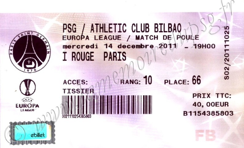 2011-12-14  PSG-Athletic Bilbao (6ème Journée Poule C3, Billetel)