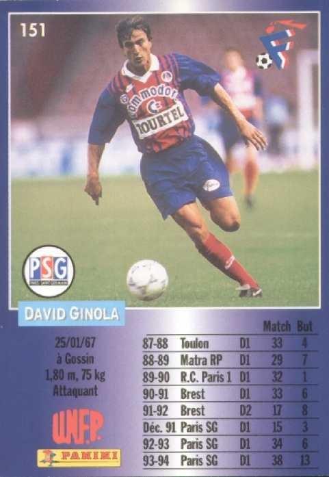 N° 151 - David GINOLA (Verso)
