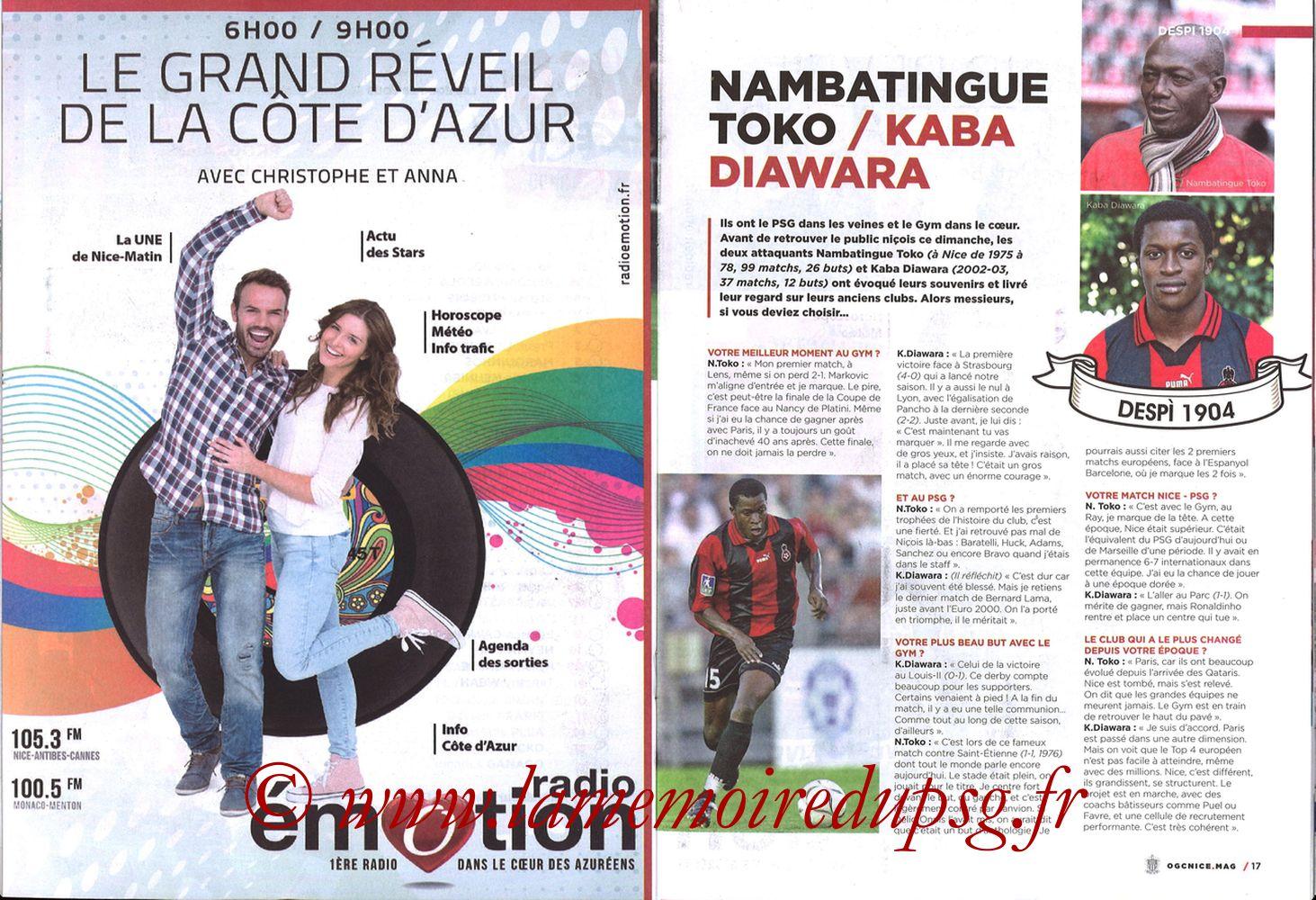 2018-03-18  Nice-PSG (30ème L1, OGC Nice Mag N°306) - Pages 16 et 17