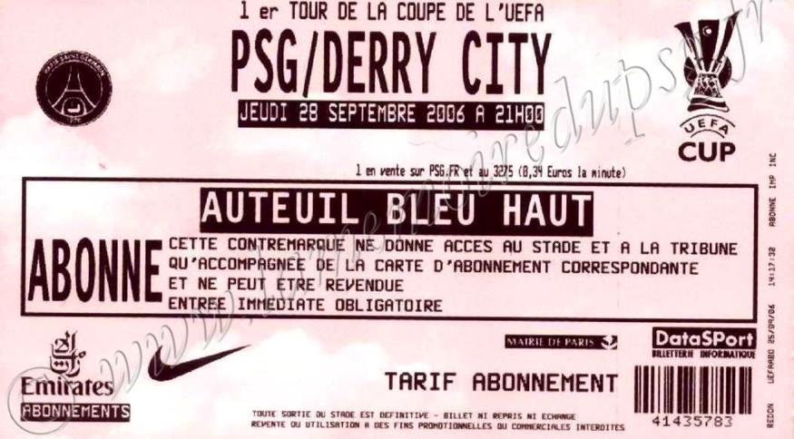 2006-09-28  PSG-Derry City FC (64ème finale retour C3)