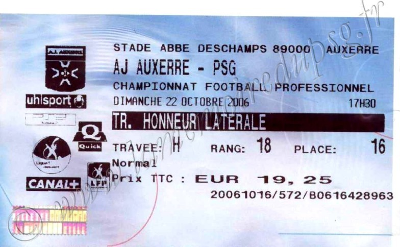 2006-10-22  Auxerre-PSG (10ème L1, Billetel)