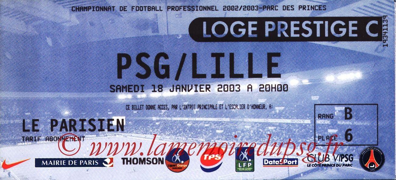 2003-01-29  PSG-Lille (24ème L1, Loge prestige)