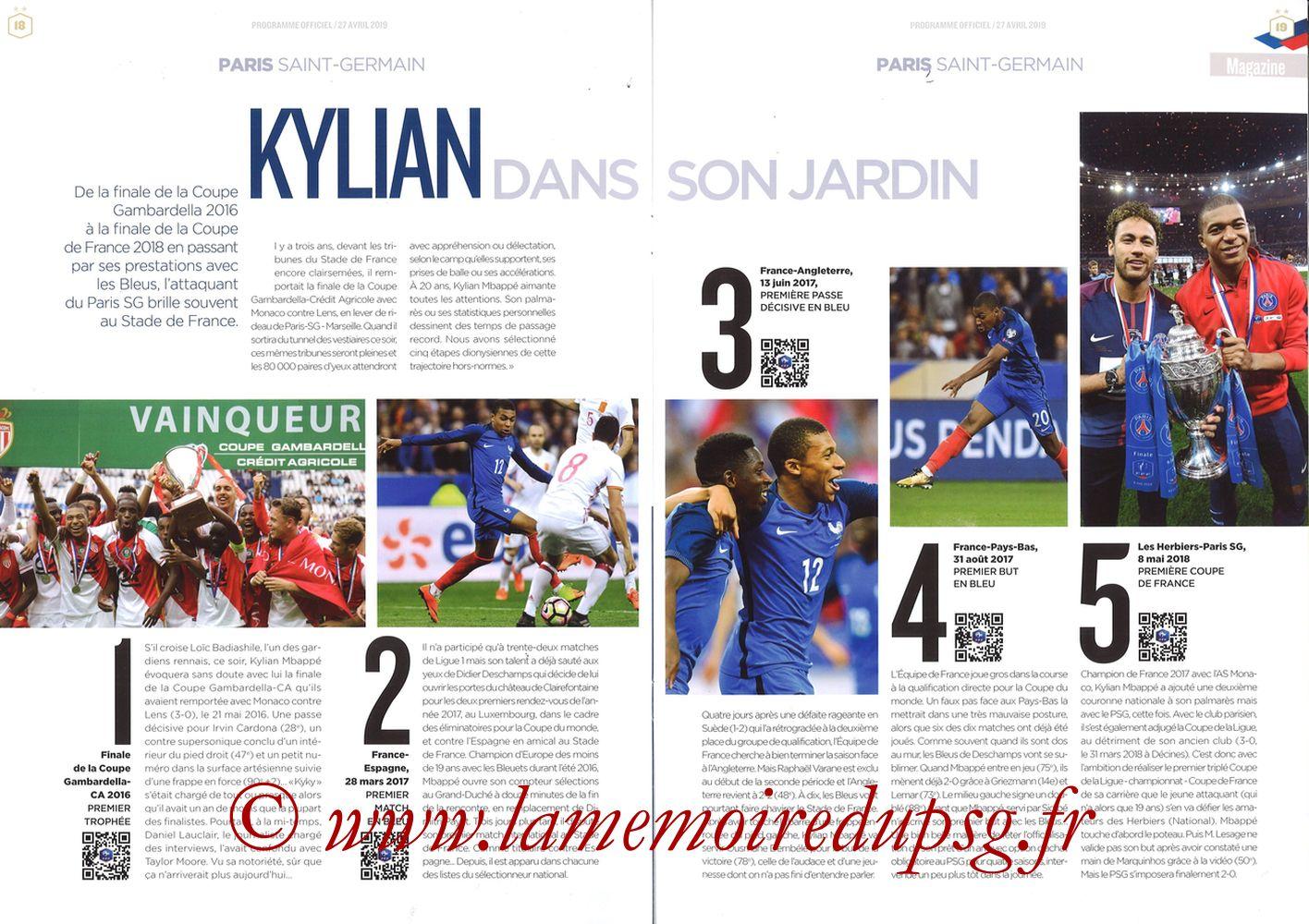 2019-04-27  Rennes-PSG (Finale CF au Stade de France, Programme officiel FFF) - Pages 18 et 19