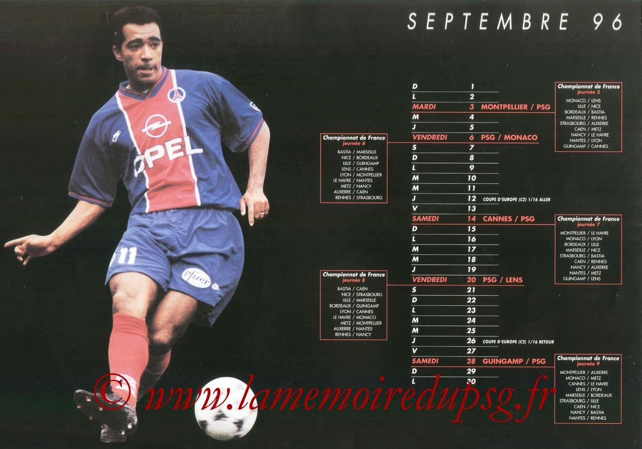 Calendrier PSG 1996-97 - Page 02 - Patrice LOKO