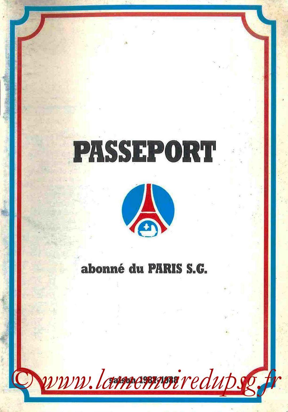 1987-88 - Passeport Abonné du PSG - Couverture