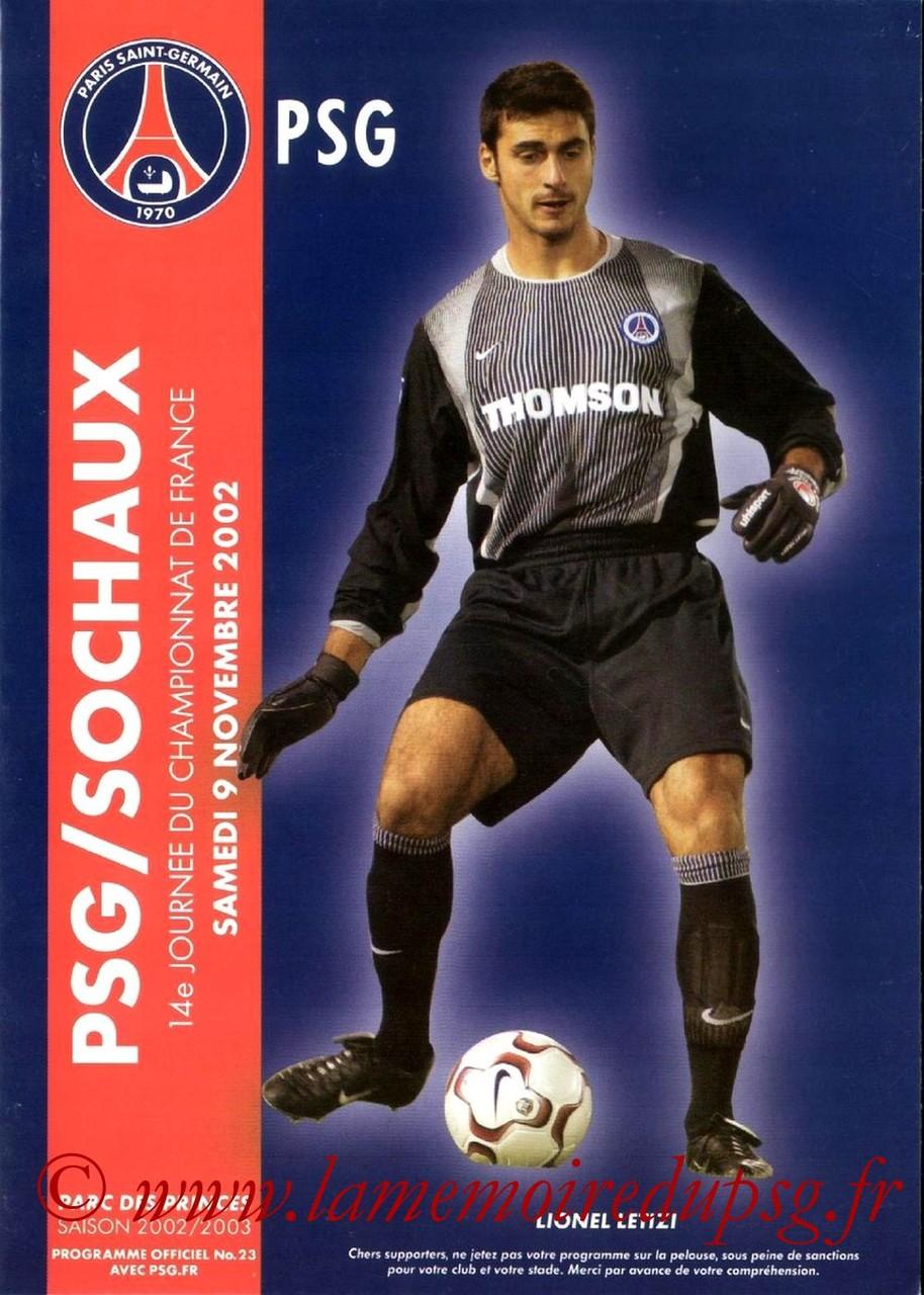 2002-11-09  PSG-Sochaux (14ème D1, Programme officiel N°23)
