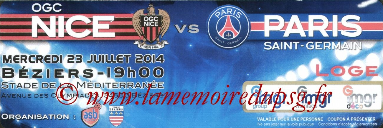 2014-07-23  Nice-PSG (Amical à Nice, Loge2)