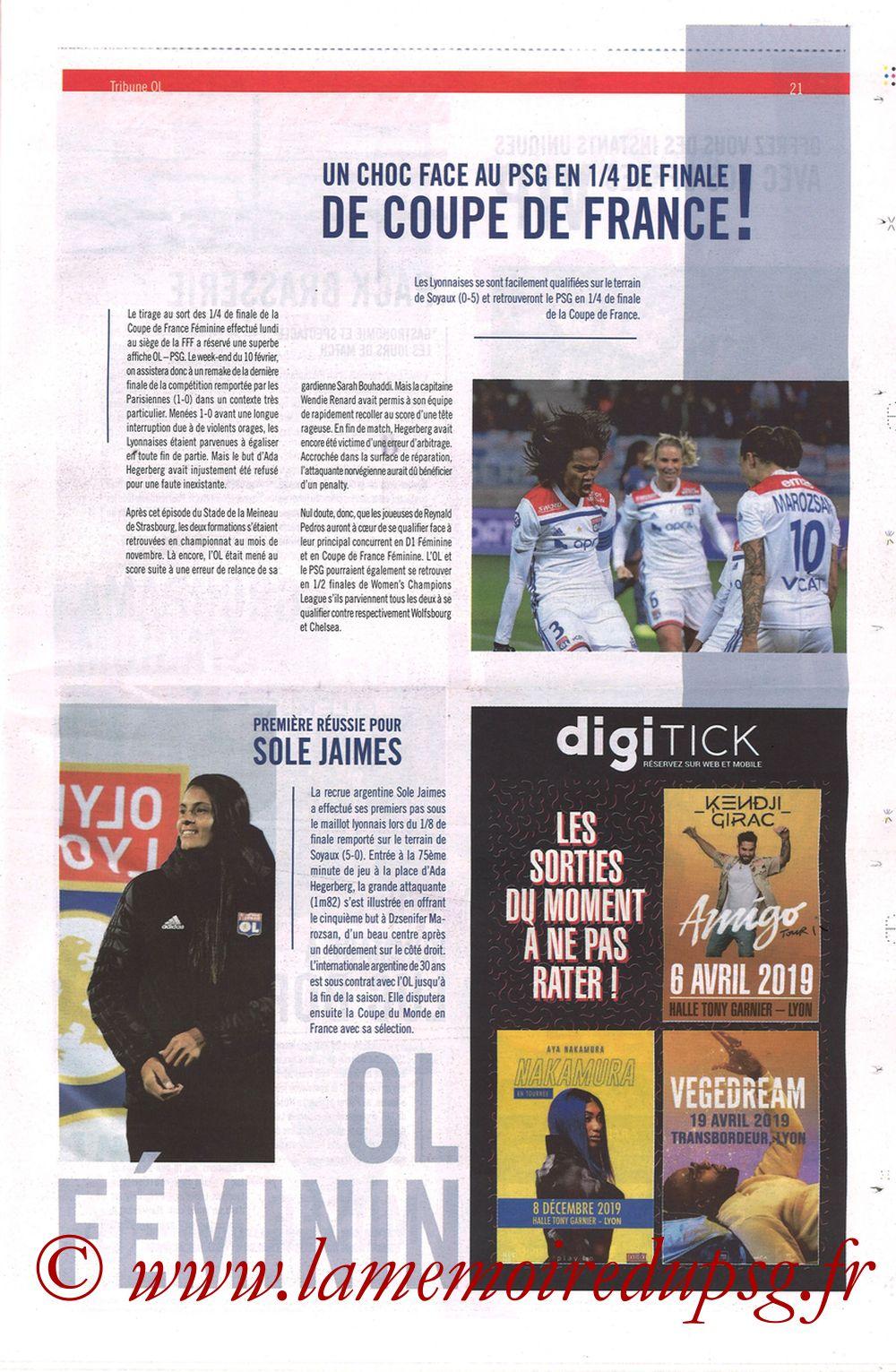 2019-02-03  Lyon-PSG (23ème L1, La Tribune OL N°270) - Page 21