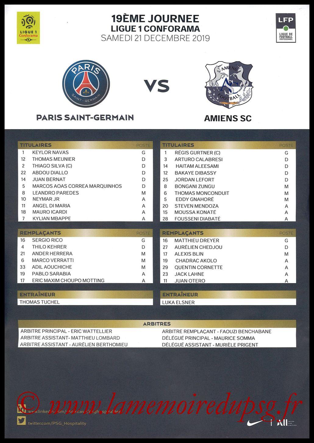2019-12-21  PSG-Amiens (19ème L1, Feuille de match)