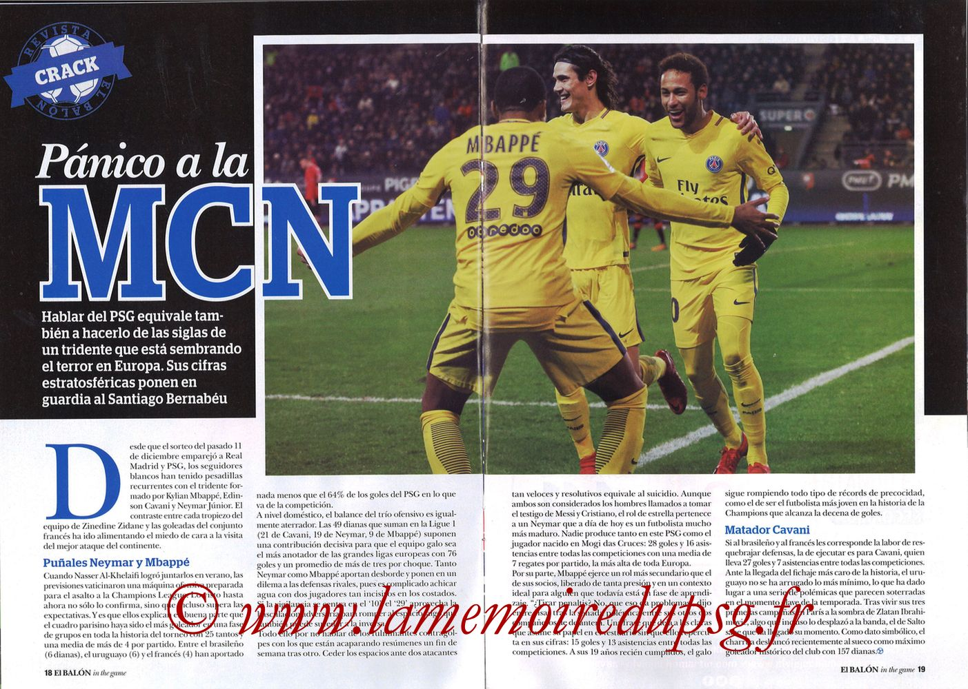 2018-02-14  Real Madrid-PSG (8ème Aller C1, El Balon in the game N°47) - Pages 18 et 19