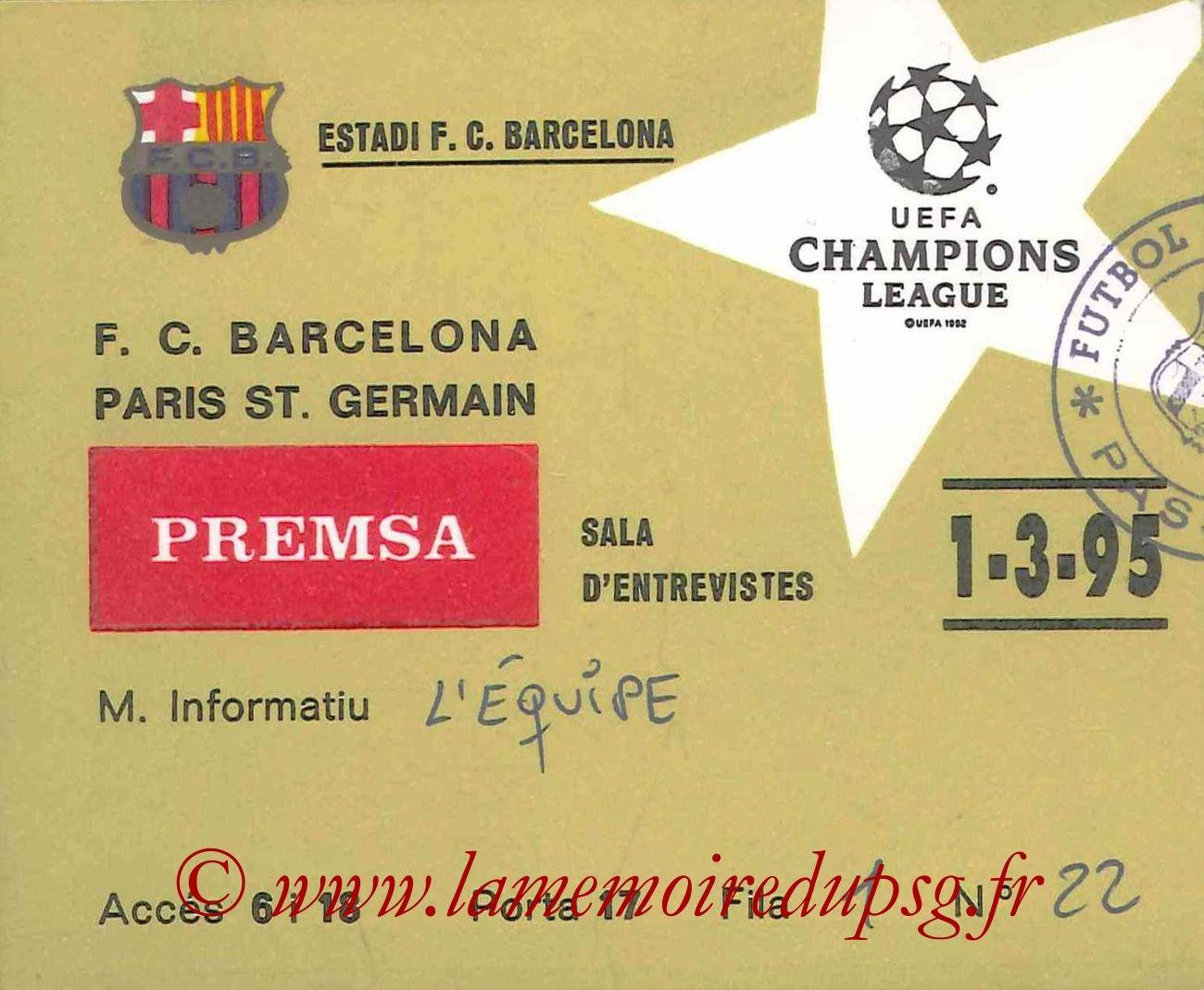 1995-03-01  Barcelone-PSG (Quart Finale Aller C1, presse)