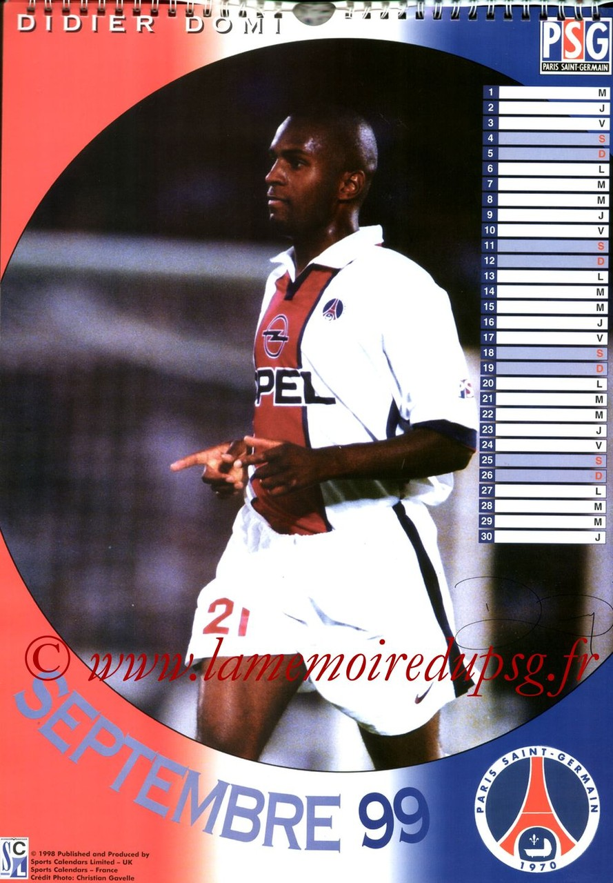 Calendrier PSG 1999 - Page 09 - Didier DOMI