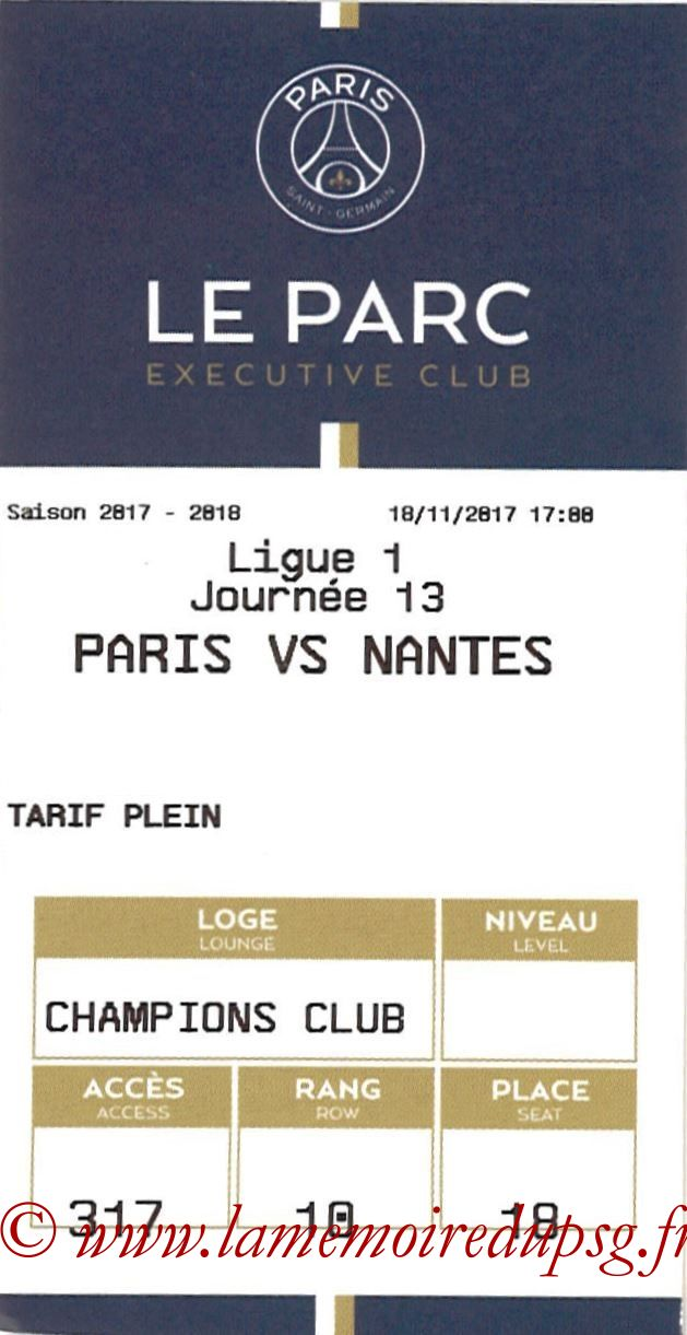 2017-11-18  PSG-Nantes (13ème L1, E-ticket Executive club 2)