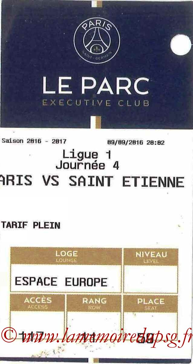 2016-09-09  PSG-Saint Etienne (4ème L1, E-ticket Executive club)