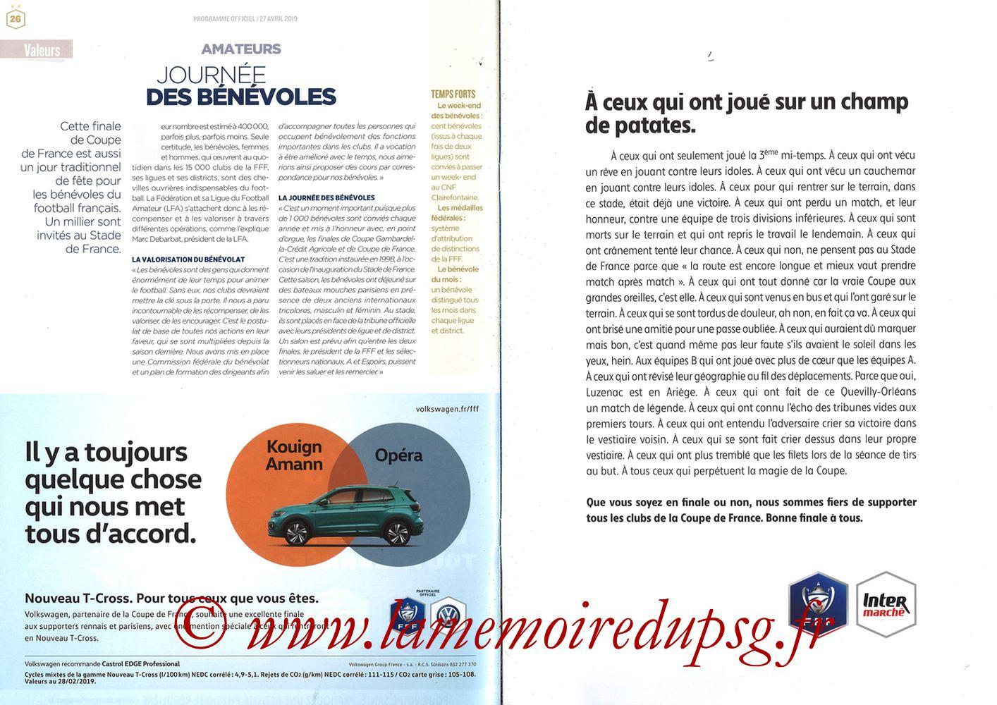 2019-04-27  Rennes-PSG (Finale CF au Stade de France, Programme officiel FFF) - Pages 26 et 27