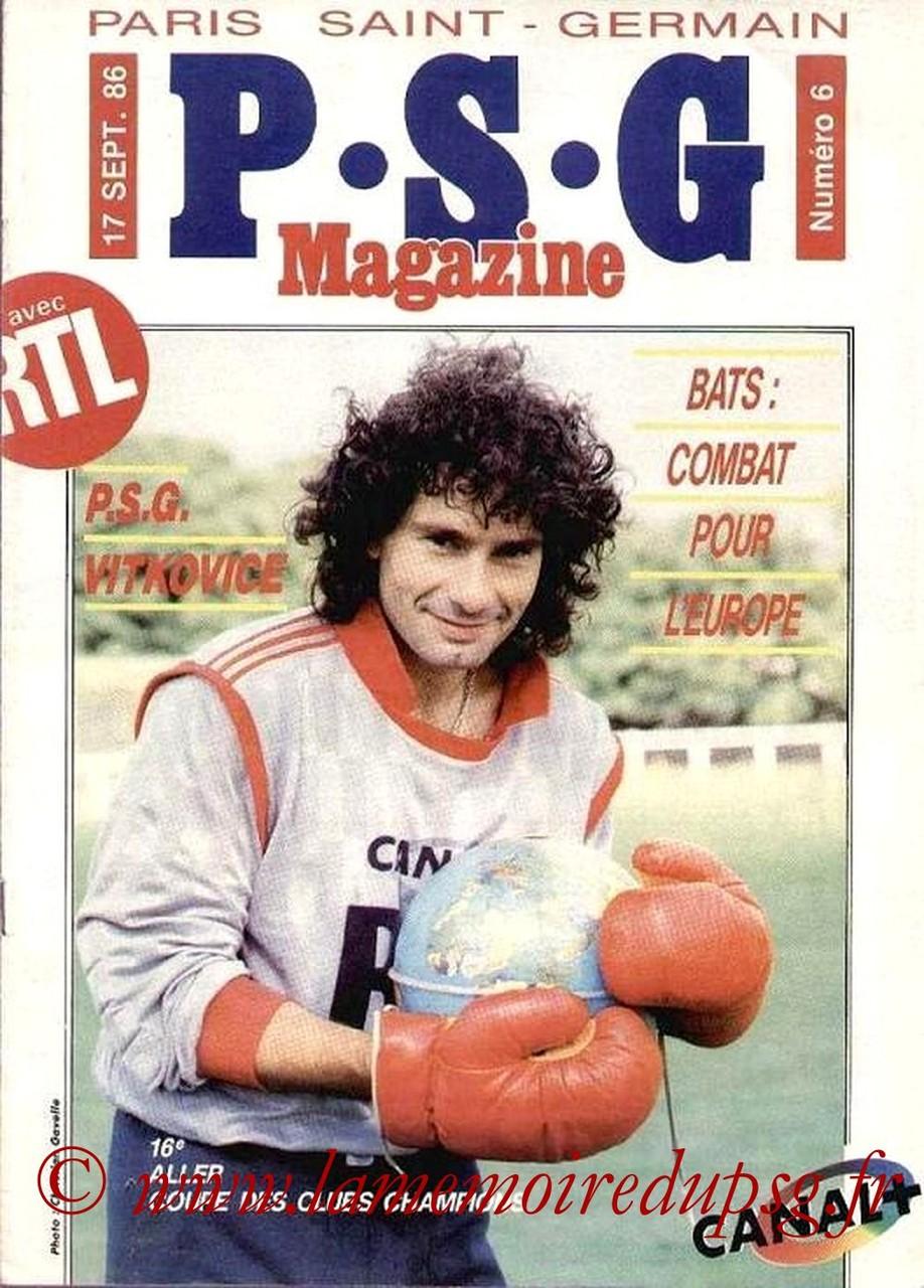 1986-09-17  PSG-Vitkovice (16ème Finale Aller C1, PSG Magazine N°6)