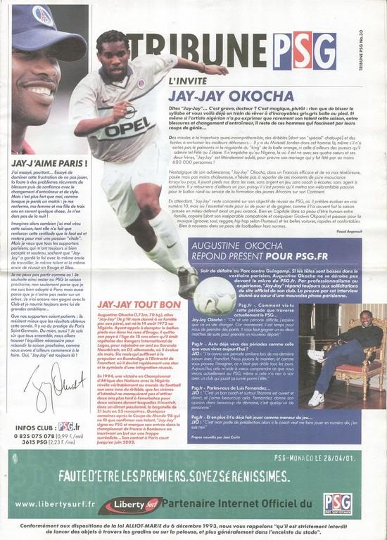 2001-04-28  PSG-Monaco (32ème D1, Tribune PSG N°30)