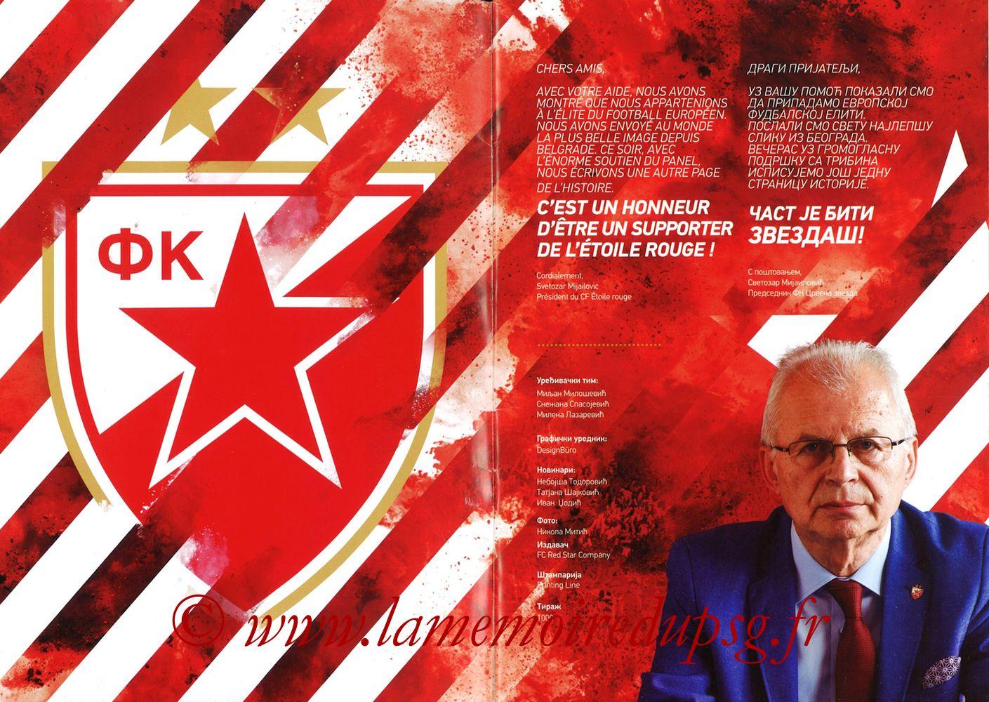 2018-12-11  Etoile Rouge de Belgrade-PSG (6ème C1, Programme officiel) - Pages 02 et 03