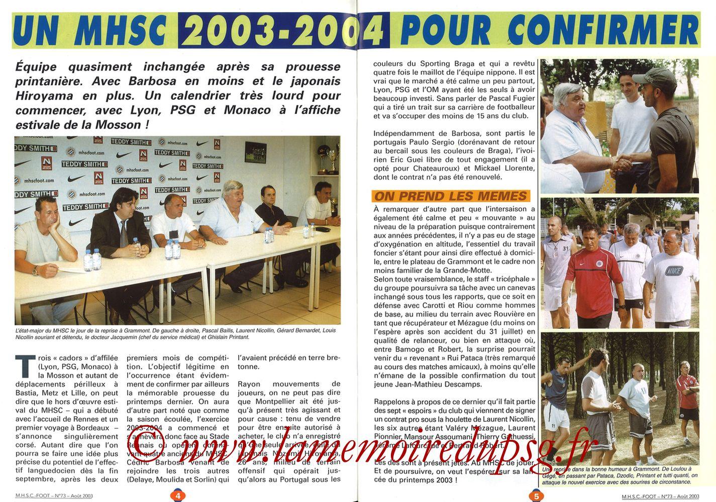 2003-08-30  Montpellier-PSG (5ème L1, MHSC Foot N°73) - Pages 04 et 05