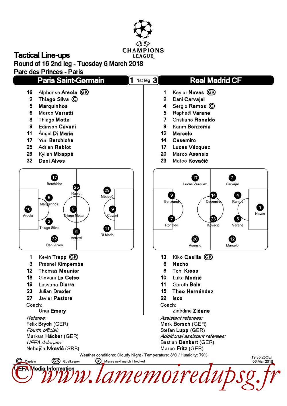 2018-03-06  PSG-Real Madrid (8ème Retour C1, Feuille de match)