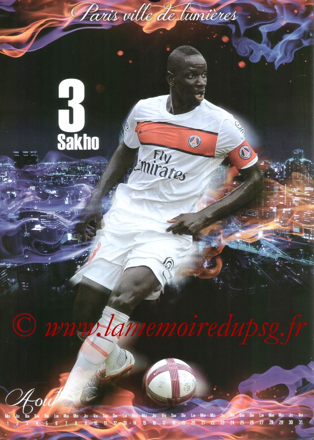 Calendrier PSG 2012bis - Page 08 - Mamadou SAKHO