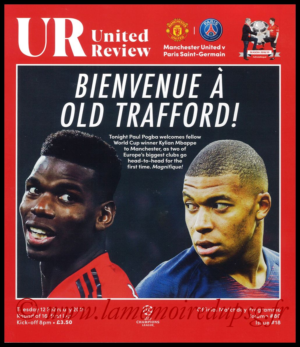 Programme  Manchester United-PSG  2018-19