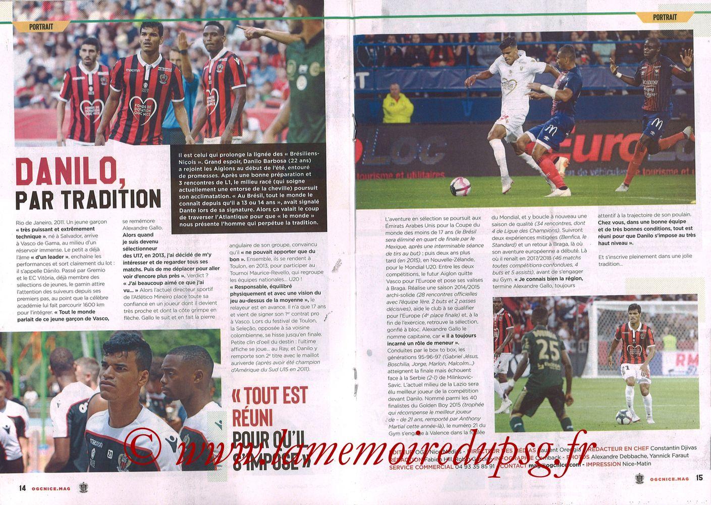 2018-09-29  Nice-PSG (8ème L1, Ogcnice.Mag N°313) - Pages 14 et 15