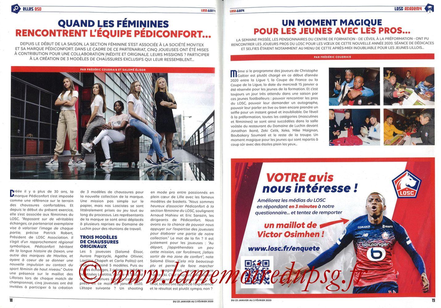 2020-01-25  Lille-PSG (21ème L1, Losc in the City N°41) - Pages 18 et 19