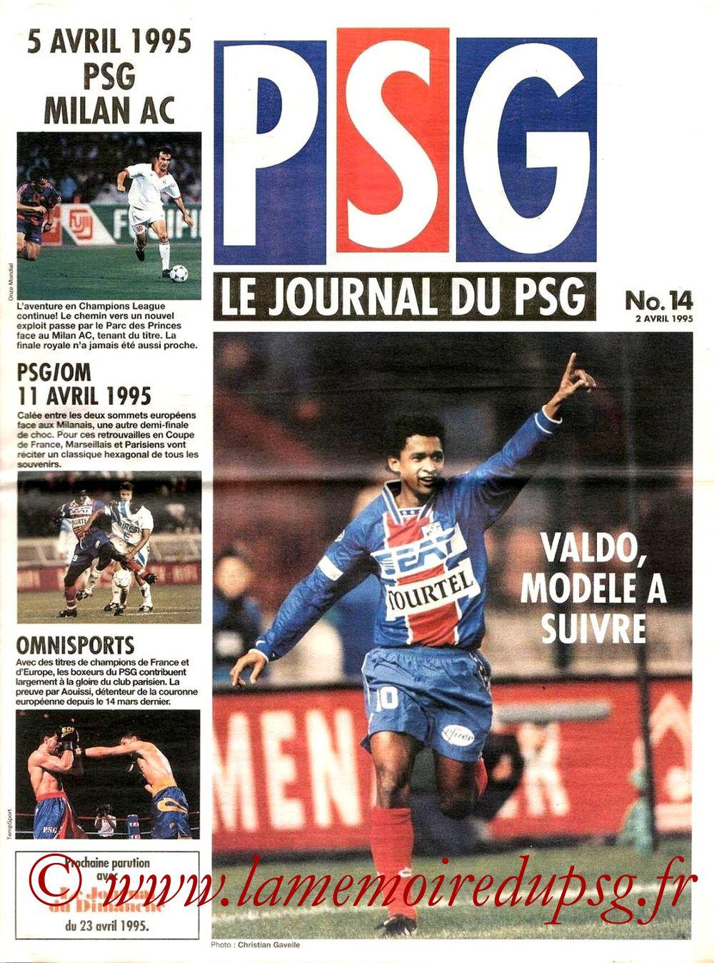 1995-04-05  PSG-Milan AC (Demi-Finale Aller C1, Le journal du PSG N°14)