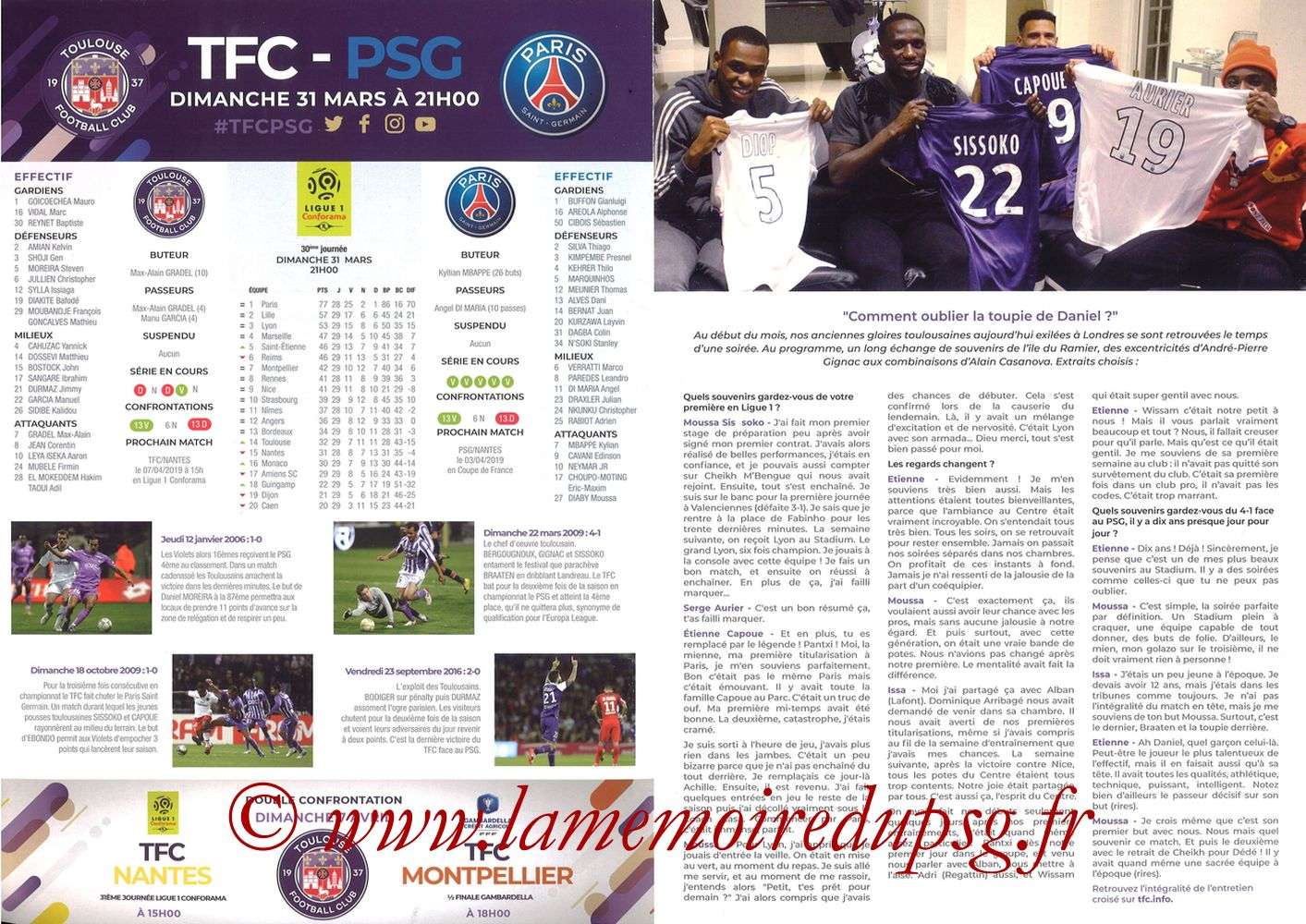 2019-03-31  Toulouse-PSG (30ème L1, Programme officiel) - Pages 02 et 03