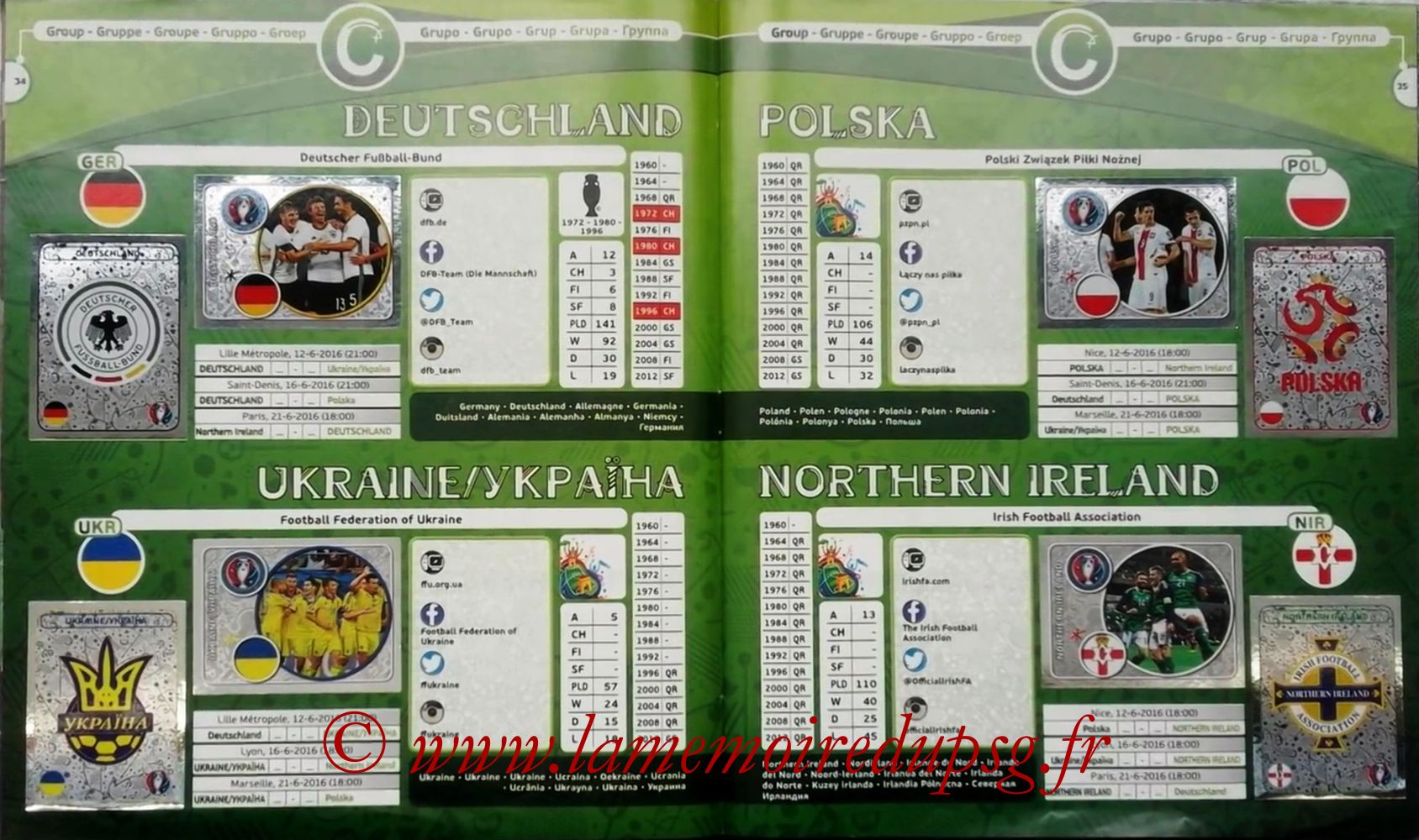 Panini Euro 2016 Stickers - Pages 34 et 35 - Groupe C