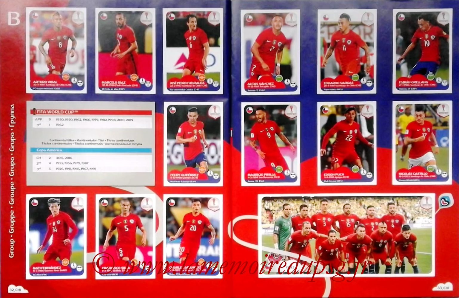 2017 - Panini Confederations Cup Russia Stickers - Pages 32 et 33 - Chili