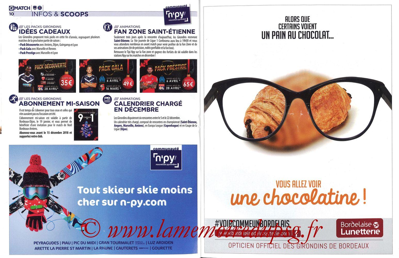 2018-12-02  Bordeaux-PSG (15ème L1, Girondins Match N°72) - Pages 10 et 11