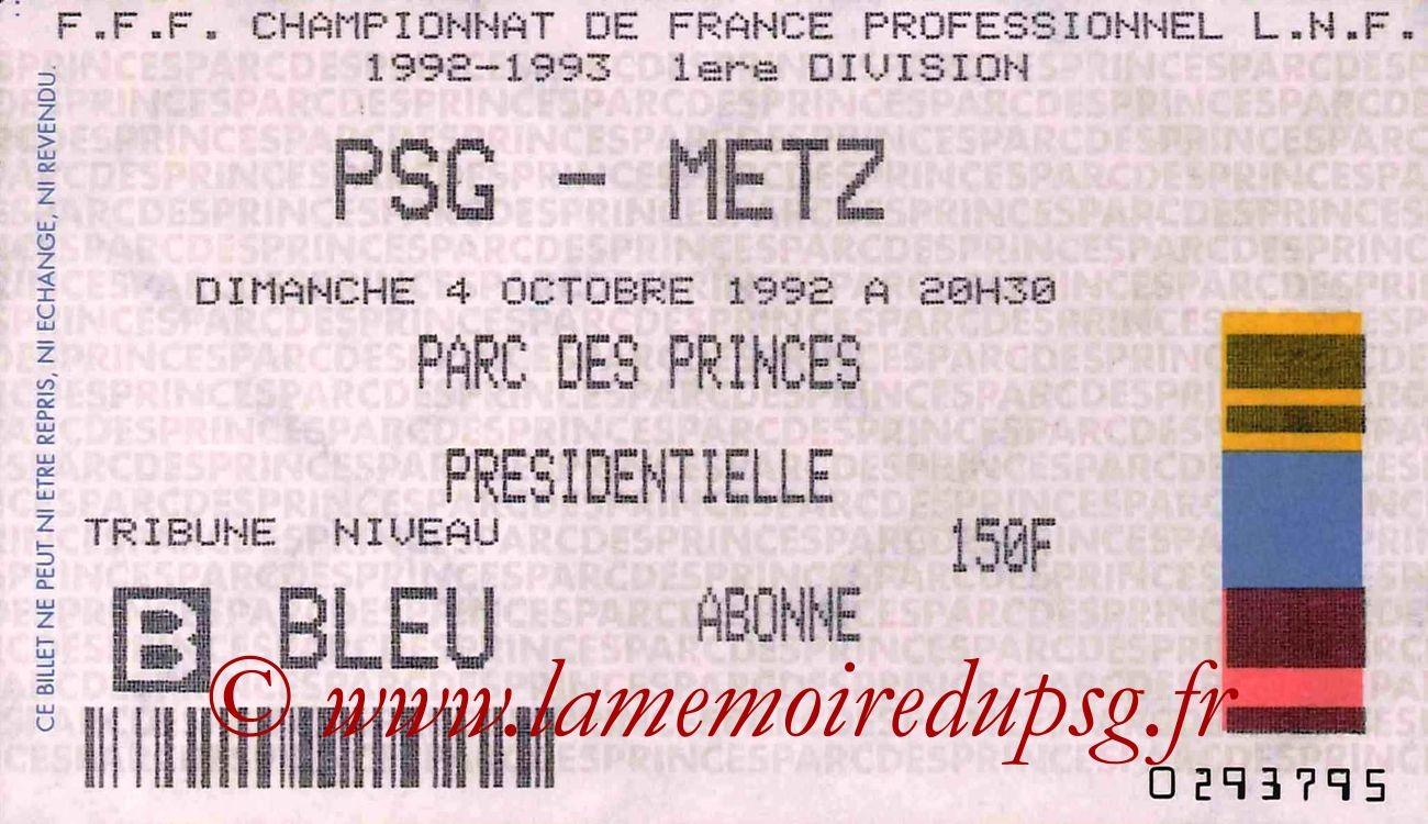 1992-10-04  PSG-Metz (9ème D1)