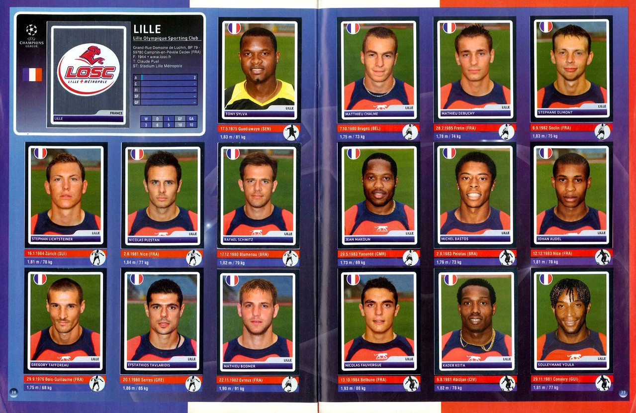 2006-07 - Panini Champions League - Pages 38 et 39 - Lille OSC
