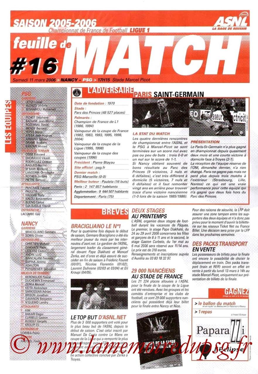 2006-03-11  Nancy-PSG (30ème L1, Feuille de match N°16)