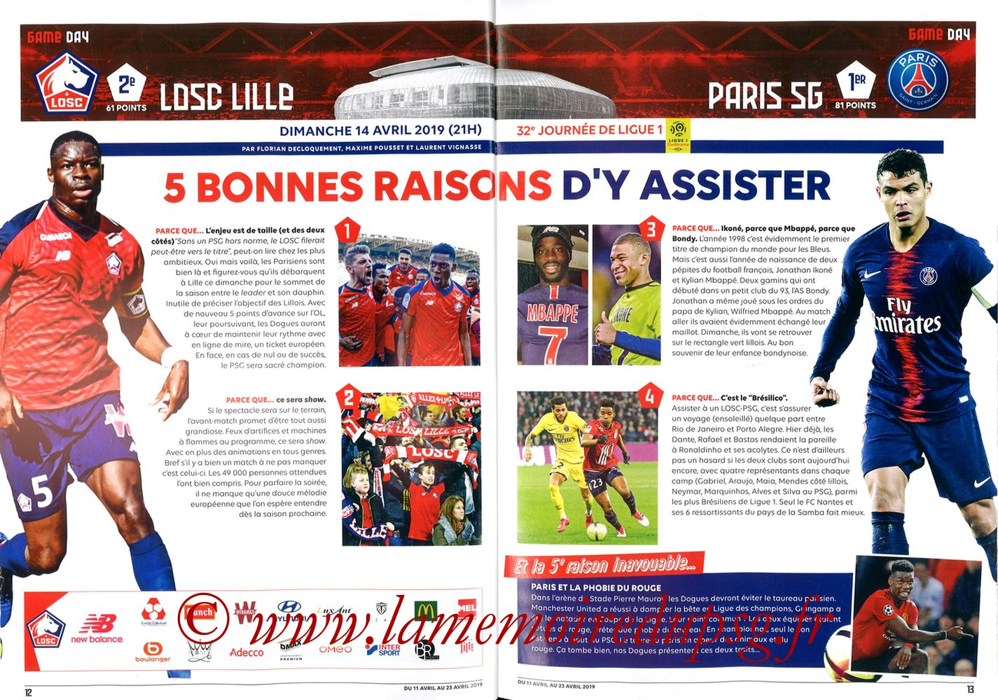 2019-04-14  Lille-PSG (32ème L1, LOSC In the City N° 28) - Pages 12 et 13