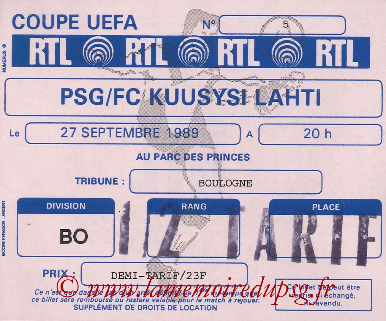 1989-09-27  PSG-Kuusysi Lahti (32ème Retour C3)