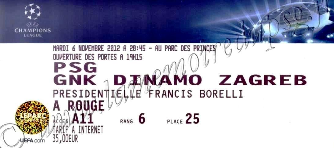 2012-11-06  PSG-Dinamo Zagreb (4ème Journée Poule C1)