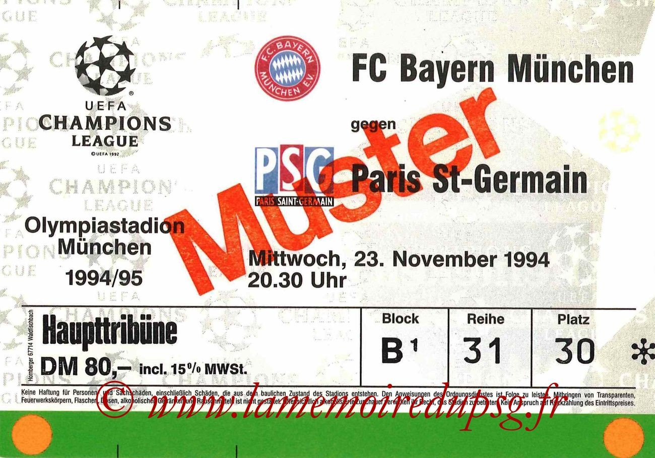 1994-11-23  Bayern Munich-PSG (5ème journée poule C1)