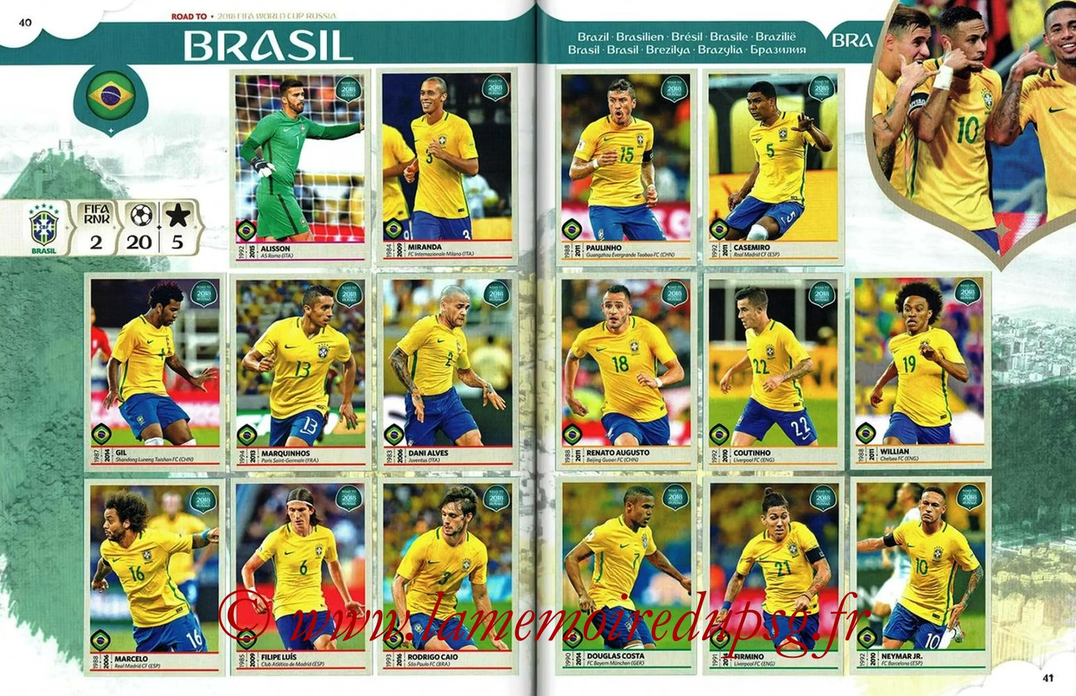 2018 - Panini Road to FIFA World Cup Russia Stickers - Pages 40 et 41 - Brésil