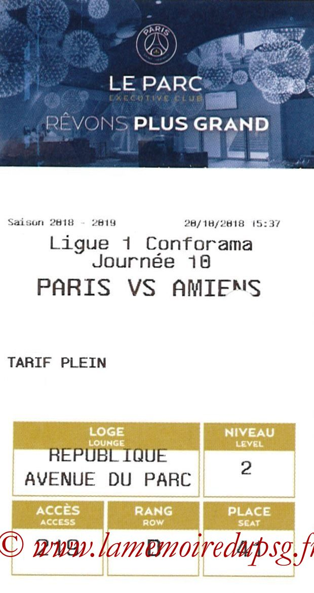 2018-10-20  PSG-Amiens (10ème L1, E-ticket Executive club 2)