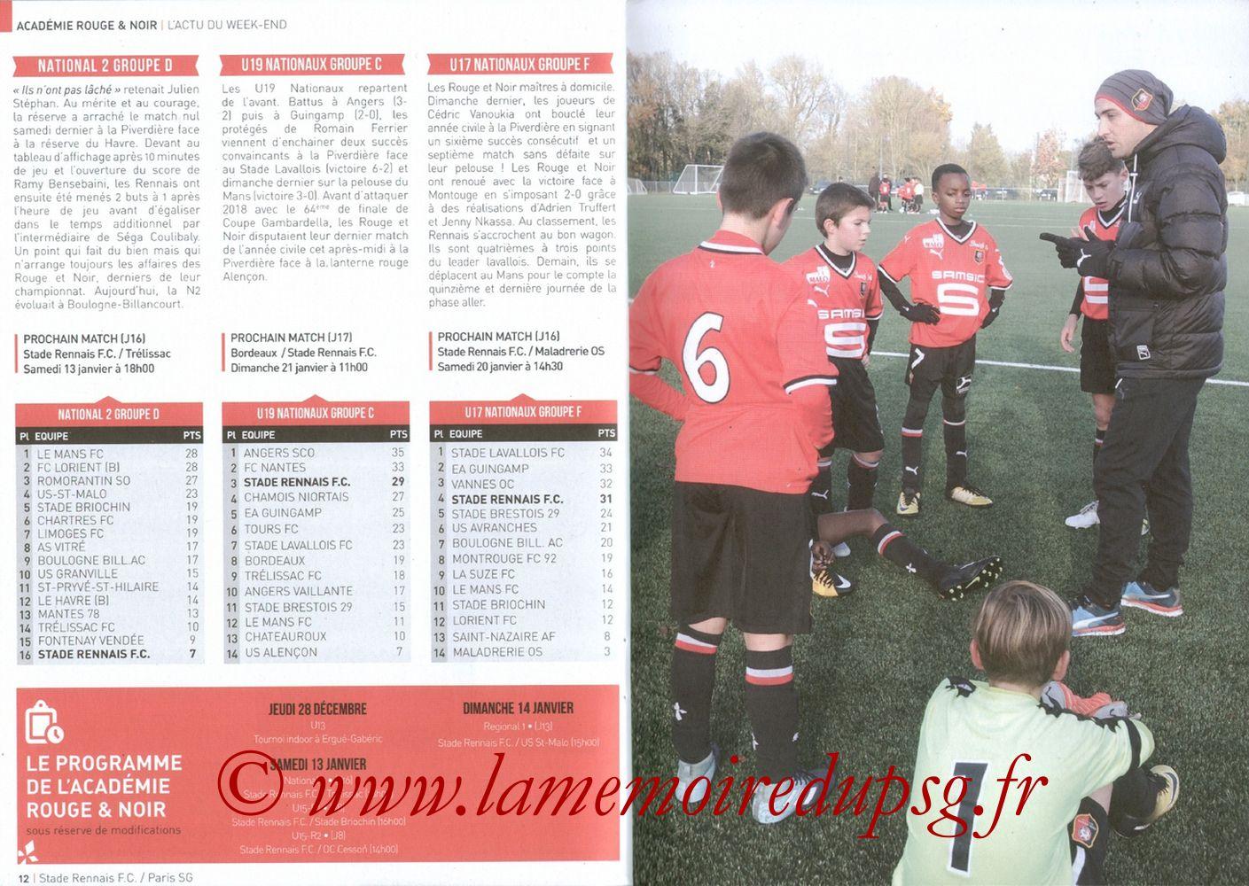 2017-12-16  Rennes-PSG (18ème L1, Le Programme de match) - Pages 12 et 13