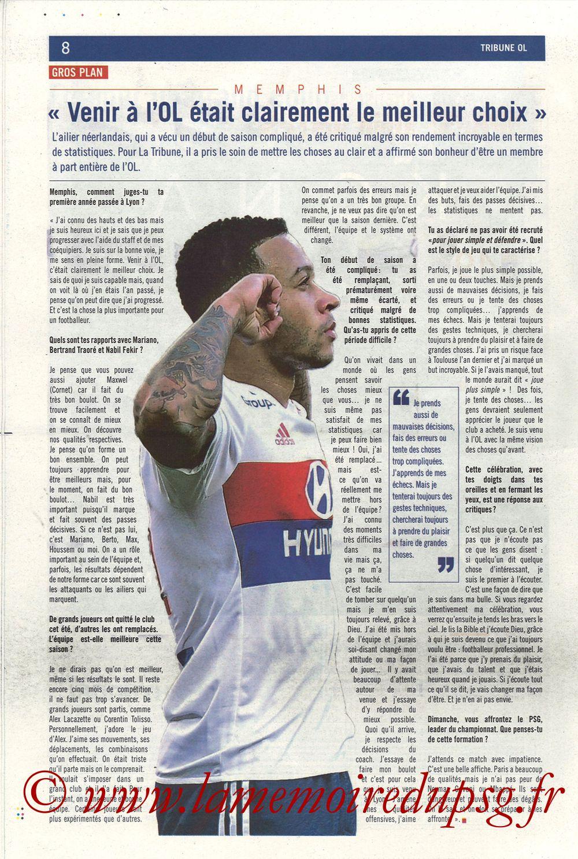 2018-01-21  Lyon-PSG (22ème L1, La Tribune OL N° 244) - Page 08