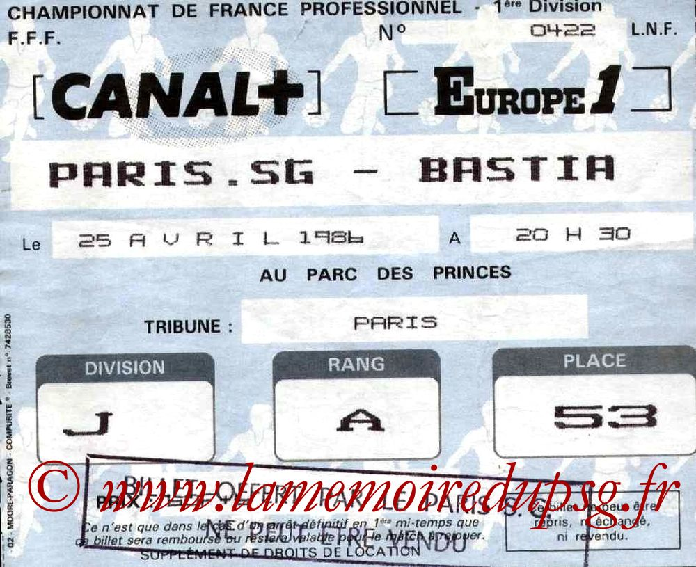 1986-04-25  PSG-Bastia (38ème D1)