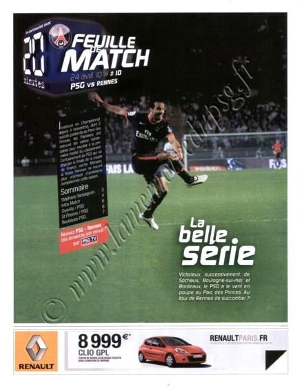 2010-04-24  PSG-Rennes (34ème L1, Feuille de Match N°10)