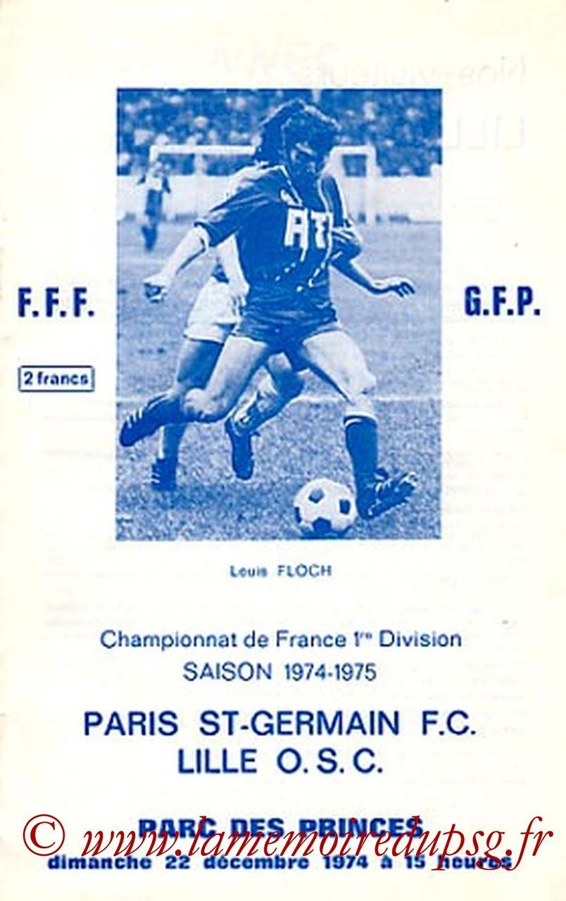 1974-12-22  PSG-Lille (22ème D1, Officiel PSG)