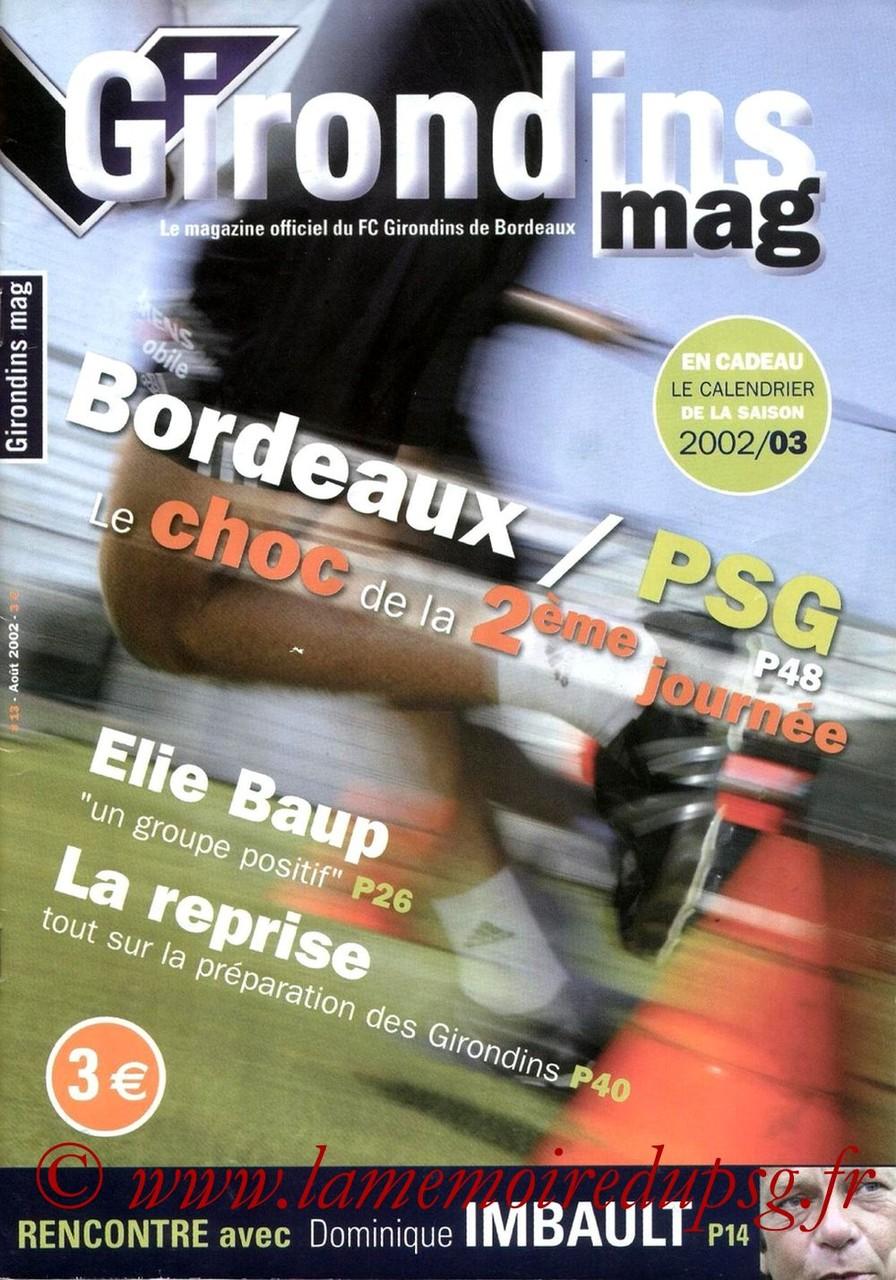 2002-08-10  Bordeaux-PSG (2ème D1, Girondins Mag N°13)